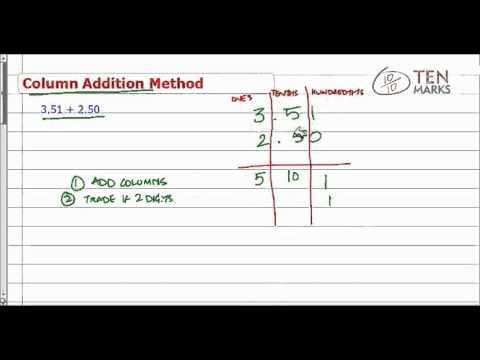 Add Decimals - Column Addition Method