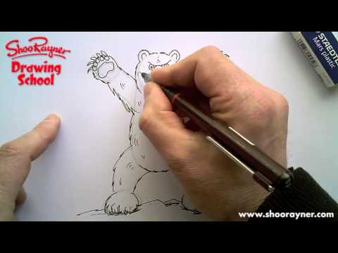How to draw a grizzly bear - standing up and very angry