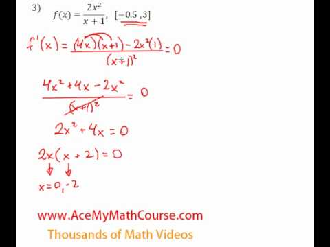 Derivatives - Absolute Maximum & Minimum - Question #3