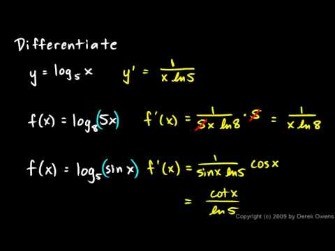 Calculus 6.3c - Derivatives of Base b Logarithms