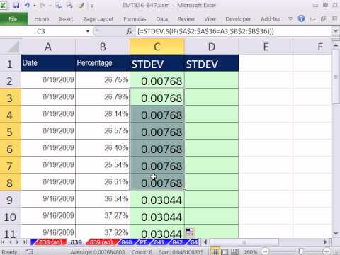 Excel Magic Trick 839: Standard Deviation At Each New Value In Column