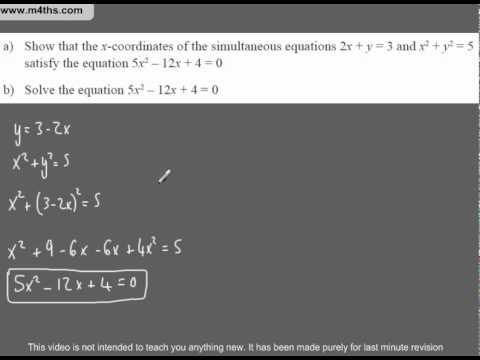 (Q50) A Star GCSE Revision Exam Style Questions Quadratic and linear simultaneous equations