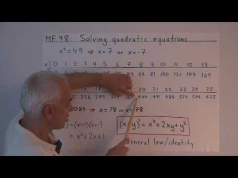 MF48a: Solving a quadratic equation