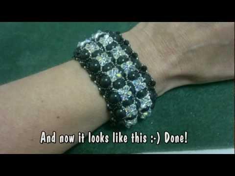 Beading4perfectionists : Swarovski pearl and bicone with miyuki beads Bracelet beading tutorial