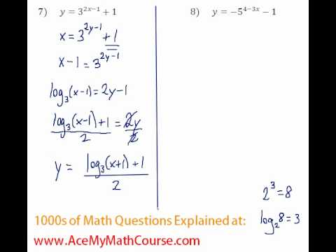 Exponents & Logs - Find the Inverse of Exponential Functions #7-8