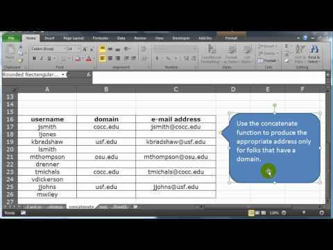 Use Excel and the Concatenate Function to Generate E-mail Addresses