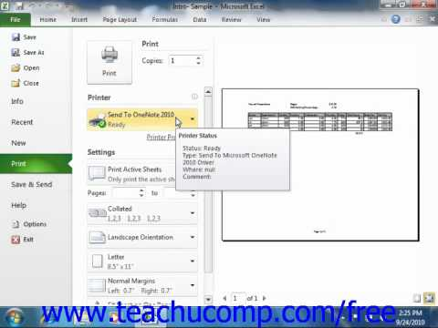 Excel 2010 Tutorial Previewing and Print Worksheets Microsoft Training Lesson 10.1
