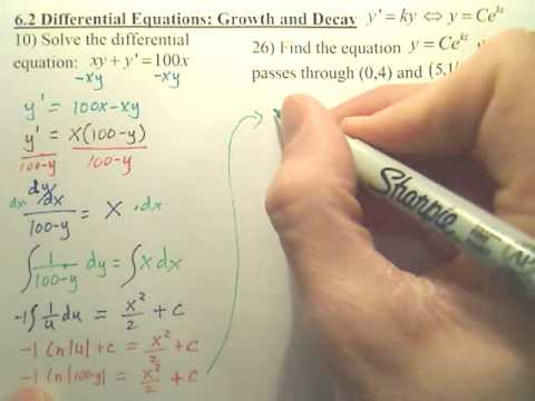 6.2a Differential Equations Growth and Decay - Calculus