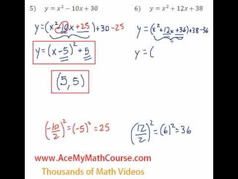 Quadratics - Finding the Vertex Question #6