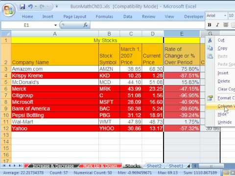 Excel Busn Math 33: Stock Values Web Query & Rate Of Change