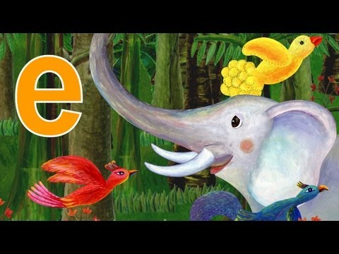 "elephant & egg- lower case alphabet ""e"""