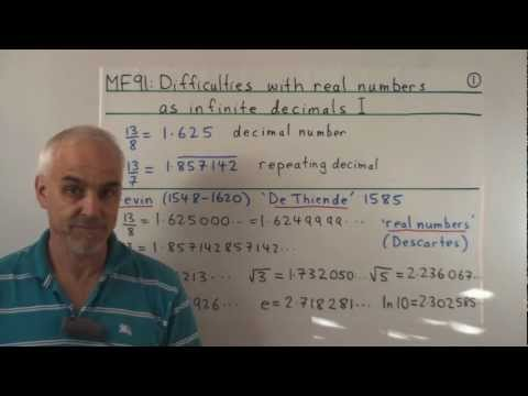 MF91: Difficulties with real numbers as infinite decimals I