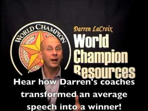 Speak Like a Champion! World Champion Speaker, Demystify the process of creating his winning speech!