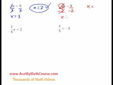 One-Step Equations (Multiplication & Division) - Introduction