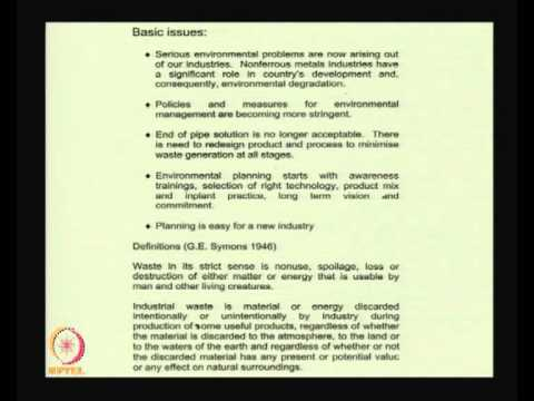 Mod-01 Lec-32 Lecture-32-Energy and Environment Related Issues in Nonferrous Metals Production
