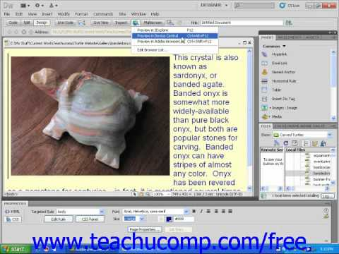 Dreamweaver CS5 Tutorial Multi Browswer Previews Adobe Training Lesson 2.8