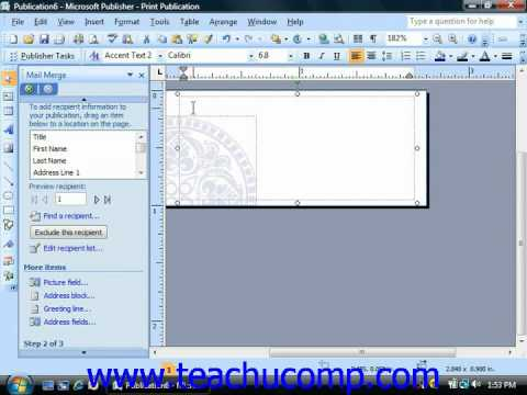 Publisher Tutorial Merging Data with a Publication Microsoft Training Lesson 11.3