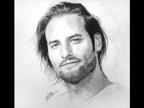 Sawyer Lost charcoal drawing Josh Holloway