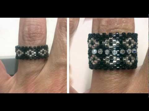 Beading4perfectionists : Peyote ring with miyuki and swarovski beads beadng tutorial