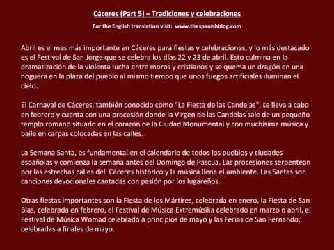 Spanish English Parallel Texts Cáceres (Part 5) Tradiciones y celebraciones