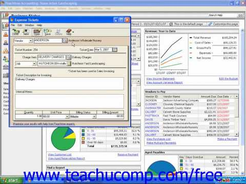 Peachtree Tutorial Entering Expense Tickets 2003 2008 Sage Training Lesson 12.7