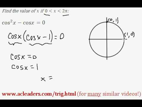 TRIGONOMETRY - solving an equation and finding 'x' between 0 and 2pi - EASY!!! (pt. 1)