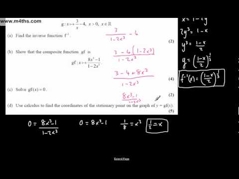 (Q8) Core 3 January 2008 Edexcel Past Paper - functions and calculus