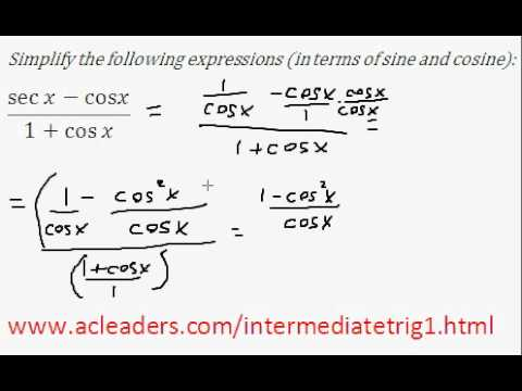 Simplifying trig expressions - Pt. 4 (EASY!!!!!)