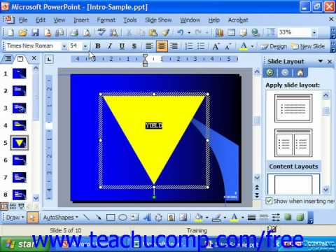 PowerPoint 2003 Tutorial Inserting Text Into a Shape Microsoft Training Lesson 19.12