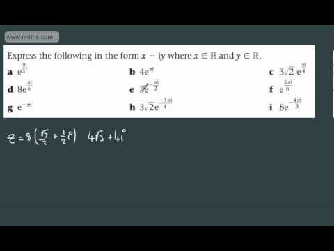 (5) FP2 Complex Numbers (Exponential to Cartesian form) Further Maths Edexcel