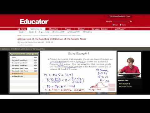 Statistics: Sampling Distribution of the Sample Mean