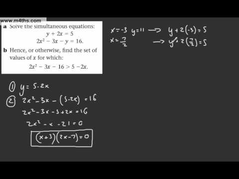 (15) Core 1 AS maths - Edexcel Algebra Review 1 - Simultaneous & quadratic inequallties exam q