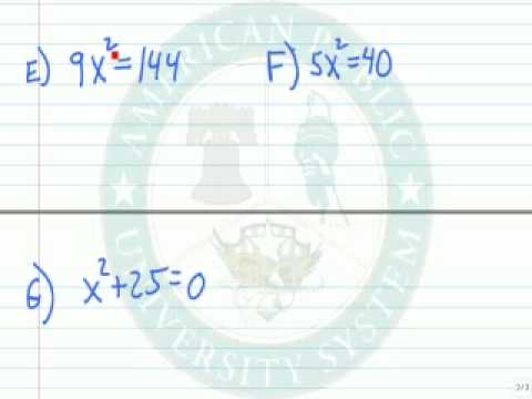 Solve Equations of the Form ax^2=k