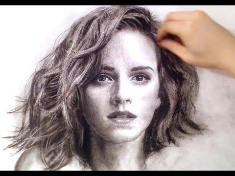 Hermione / Emma Watson Charcoal drawing - thePortraitart