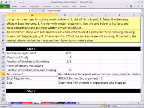 Excel 2010 Business Math 23: Fraction Business Math Word / Application Problem