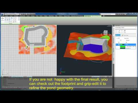 Autodesk Labs: Terrain Shaping for AutoCAD Map 3D - Pond in Map
