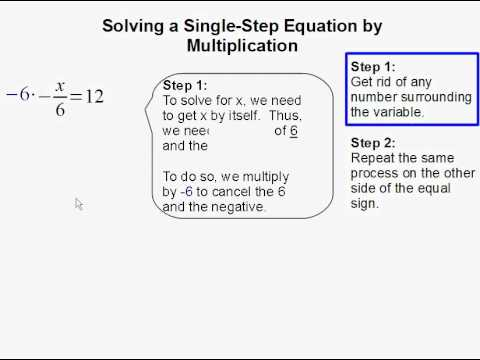 Solving a Single Step Equation by Multiplication