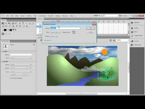 Adobe Flash CS5 : SETTING UP A FLASH SCENE: Using the Deco Brush & Convert to Symbol