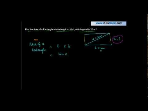 1131. CBSE Maths VII - Find the Area of a Rectangle whose length and diagonal given