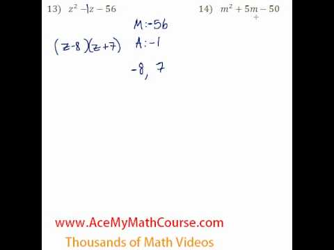 Polynomials - Factoring Trinomials #13-14