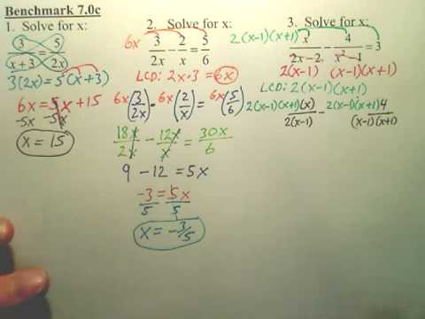 Benchmark 7c p2 - Solving Rational Equations - Algebra 2