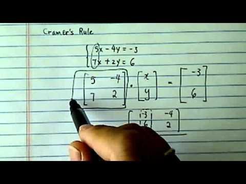 *Cramer's Rule : Solve 5x-4y=-3, 7x+2y=6?