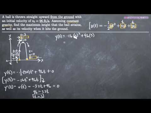 Vertical Motion (differentiation) Example 1