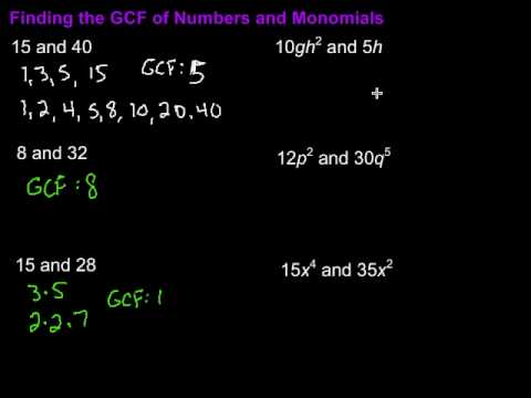Finding GCF of Numbers and Monomials