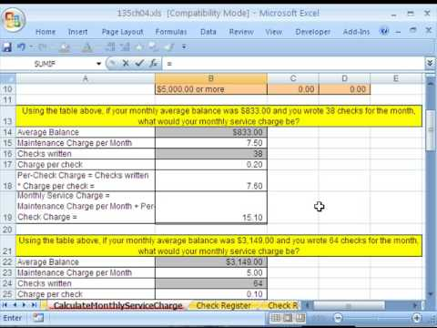 Excel Busn Math 35: Check Accounts: Service Charge & Balance