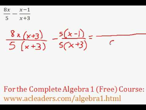 (Algebra 1) Rational Expressions - Addition/Subtraction Question #7