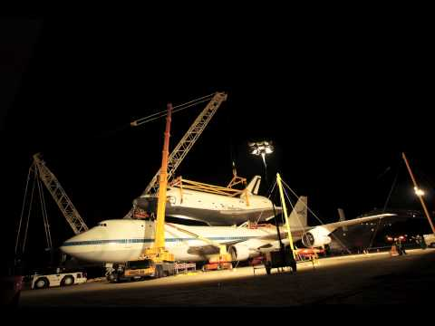 Space Shuttle Enterprise Removed from 747 Carrier Aircraft