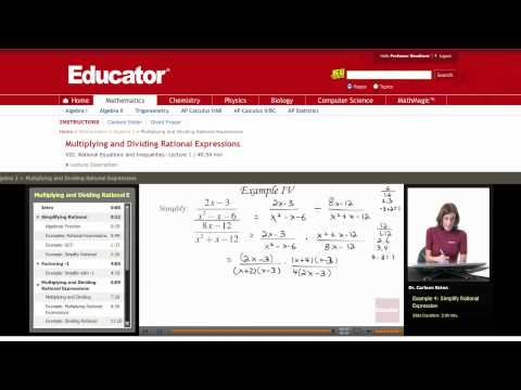 Algebra 2: Multiplying and Dividing Rational Expressions