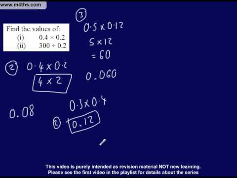 (6) C to D Grade GCSE Questions Playlist - multiplying and dividing decimals (non calculator)