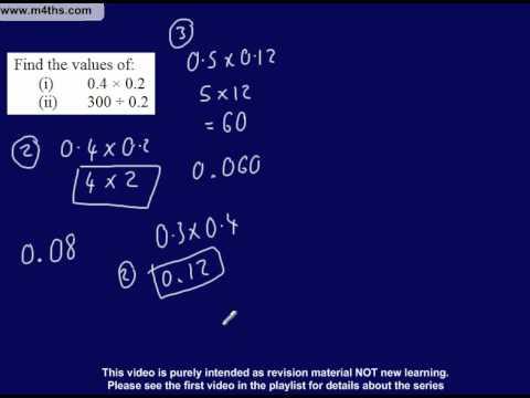 (6) C to D Grade GCSE Questions Playlist - multiplying and dividing decimals (non calculator)